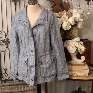 NWT Caslon cinch waist linen utility jacket